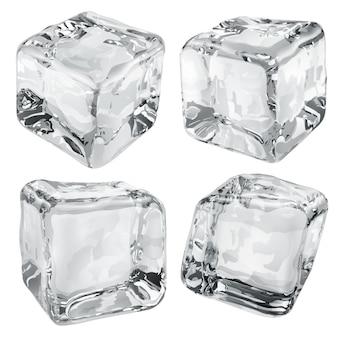 Zestaw czterech nieprzezroczystych kostek lodu w szarych kolorach