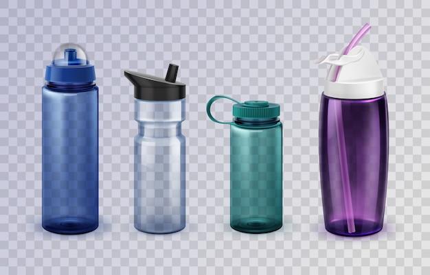 Zestaw czterech odmian sportowych i fitness szklanych i plastikowych butelek na wodę