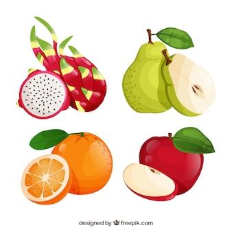 Zestaw czterech owoców realistyczne