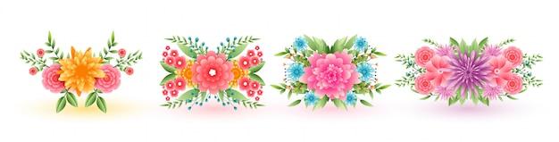 Zestaw czterech ozdobnych kwiatów