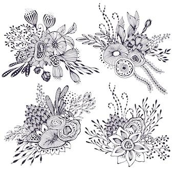 Zestaw czterech pięknych bukietów fantasy z ręcznie rysowane kwiaty, rośliny, gałęzie. ilustracja wektorowa czarno-białe.