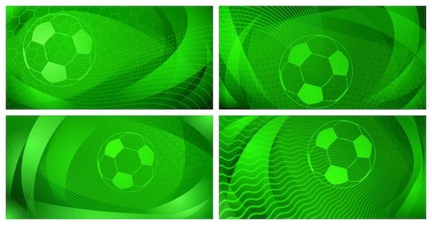 Zestaw czterech piłkarskich lub piłkarskich teł z dużą piłką w zielonych kolorach
