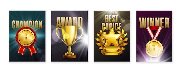 Zestaw czterech pionowych plakatów z wizerunkami realistycznych nagród