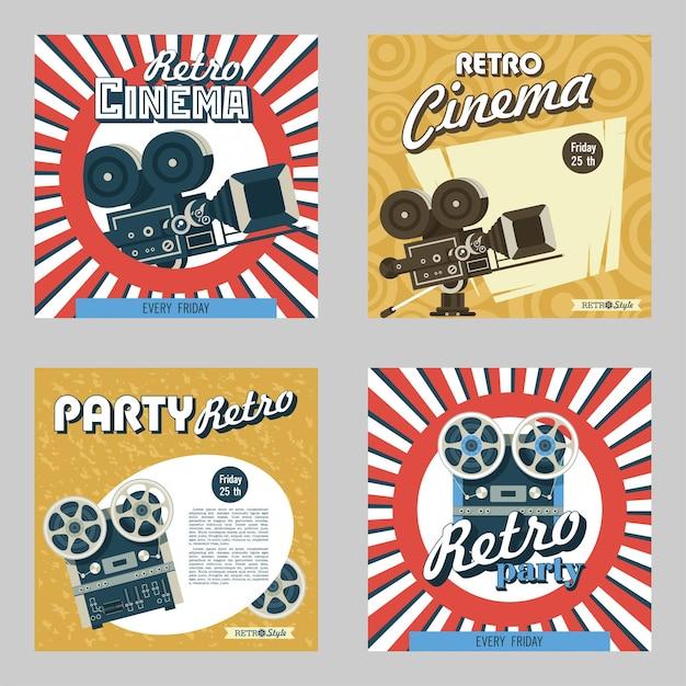Zestaw czterech plakatów. ilustracja wektorowa. kino retro. impreza retro. przedstawia zabytkową kamerę filmową i magnetofon szpulowy.