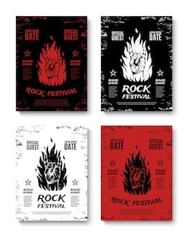 Zestaw czterech plakatów z festiwali rockowych w stylu grunge, ze znakiem rock n roll i ogniem. ulotki z koncertami rockowymi.