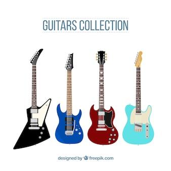 Zestaw czterech płaskich gitar elektrycznych