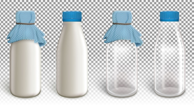 Zestaw czterech plastikowych butelek.