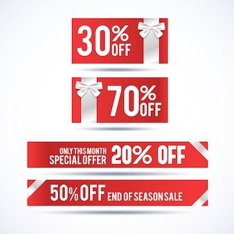 Zestaw czterech poziomych banerów świątecznych rabatowych z informacją o promocji tylko w tym miesiącu