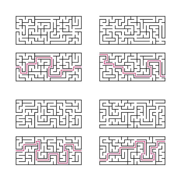 Zestaw czterech prostokątnych labiryntów.