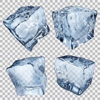 Zestaw czterech przezroczystych kostek lodu w niebieskich kolorach