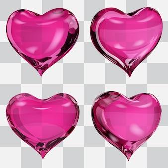 Zestaw Czterech Przezroczystych Serc W Różowych Kolorach Premium Wektorów