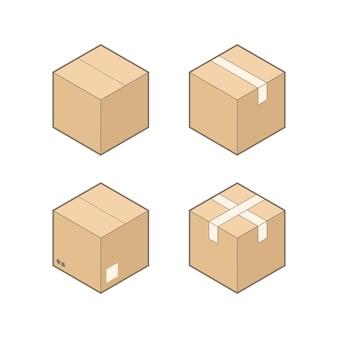 Zestaw czterech pudełek kartonowych izometryczny na białym tle