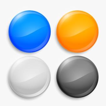 Zestaw czterech pustych błyszczących okrągłych przycisków