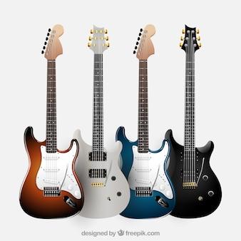 Zestaw czterech realistycznych gitar elektrycznych