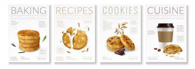 Zestaw czterech realistycznych plakatów na temat owsianych ciasteczek z napisami do pieczenia ciasteczek i ilustracji kuchni