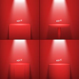 Zestaw czterech realistycznych platform oświetlonych na czerwono