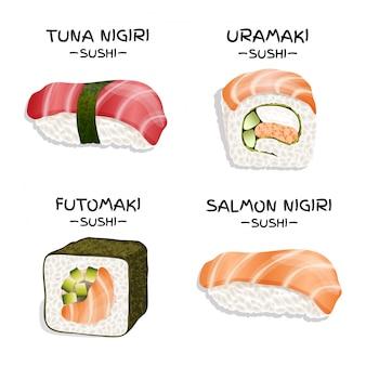 Zestaw czterech realistycznych sushi