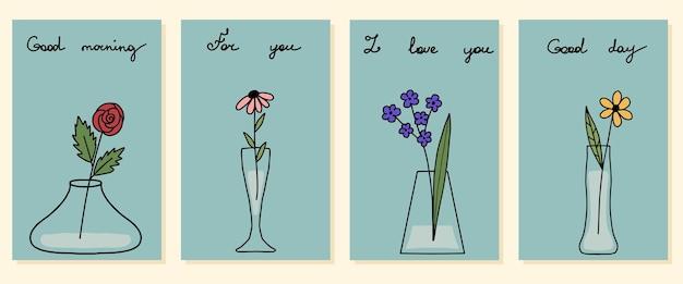 Zestaw czterech ręcznie rysowanych mini wazonów z pocztówkami z szablonem projektu kwiatów