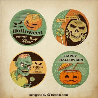Zestaw czterech retro halloween naklejek