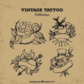 Zestaw czterech rocznik ręcznie narysowanych tatuaży