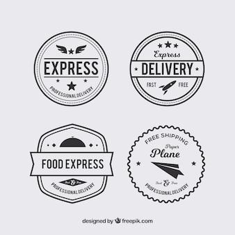 Zestaw czterech rocznika naklejek dostawczych