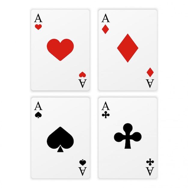 Zestaw czterech rodzajów kart asów.