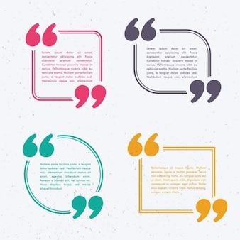 Zestaw czterech rozmowy bańki w różnych kolorach i kształtach
