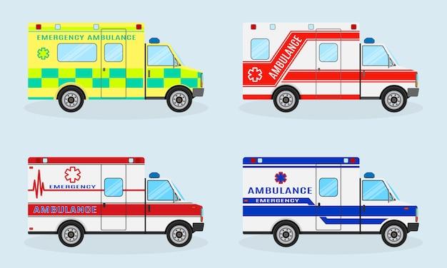 Zestaw czterech samochodów pogotowia ratunkowego. widok z boku samochodu pogotowia. pojazd ratunkowy.
