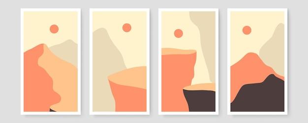Zestaw czterech streszczenie estetyczny nowoczesny krajobraz z połowy wieku współczesny projekt boho. minimalne i naturalne ilustracje ścienne