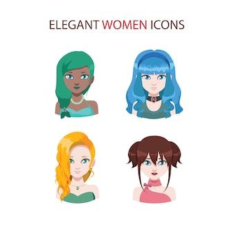 Zestaw czterech stylowych ikon kobiet