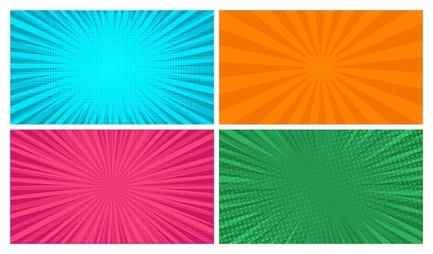 Zestaw czterech tła stron komiksu w stylu pop-art z pustą przestrzenią. szablon z promieniami, kropkami i teksturą efektu półtonów. ilustracja wektorowa