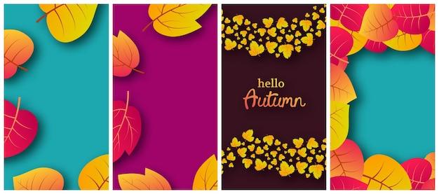 Zestaw czterech tła z jesiennych liści i miejsce na twój tekst. projekt banera opowieści na baner lub plakat sezonu jesiennego. ilustracja wektorowa