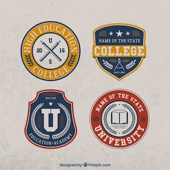 Zestaw czterech uczelni rocznika naklejki