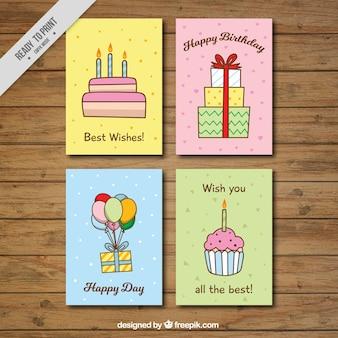 Zestaw czterech wielkich kartki urodzinowe