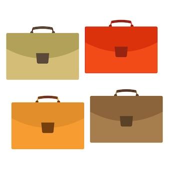 Zestaw czterech wielobarwny worek na białym tle. walizka na podróż w stylu mieszkania. ilustracja wektorowa