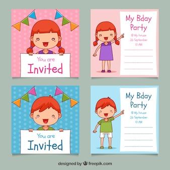 Zestaw Czterech Wyciągnąć Rękę Urodziny Zaproszenia Darmowych Wektorów