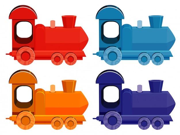 Zestaw czterech zdjęć pociągów w różnych kolorach