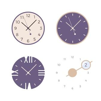 Zestaw czterech zegarów ściennych retro
