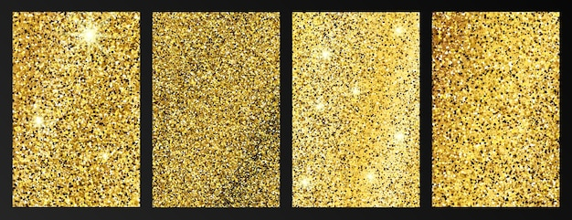 Zestaw czterech złotych błyszczących środowisk ze złotymi błyskami i efektem brokatu. projekt banera opowieści. puste miejsce na twój tekst. ilustracja wektorowa