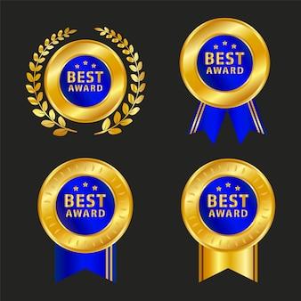 Zestaw czterech złotych etykiet handlowych z niebieską wstążką