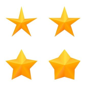 Zestaw czterech złotych gwiazd pięć punktów.