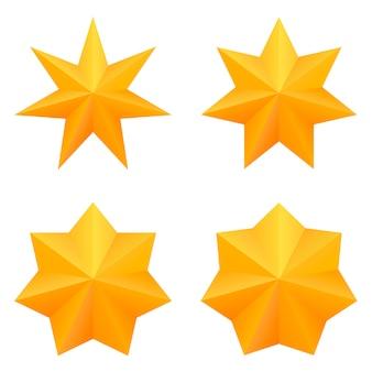 Zestaw czterech złotych gwiazd siedmiu punktów.