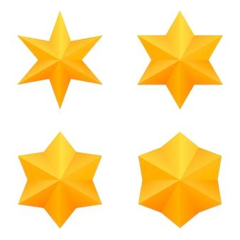 Zestaw czterech złotych gwiazd sześć punktów.