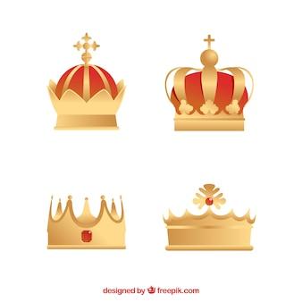Zestaw czterech złotych koron w płaskim deseniu