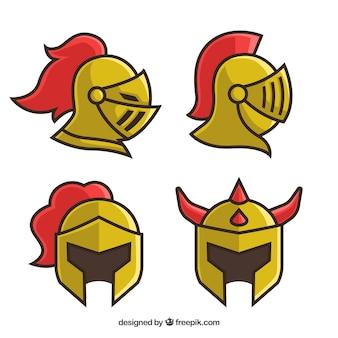 Zestaw czterech złotych zbroi