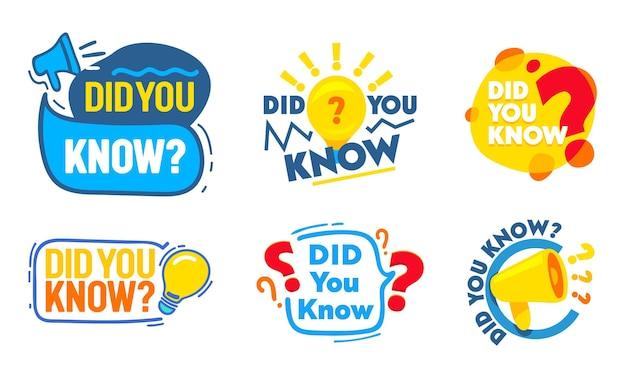 Zestaw czy wiesz odznaki zestaw z megafonem, żarówka, ikony znaków zapytania