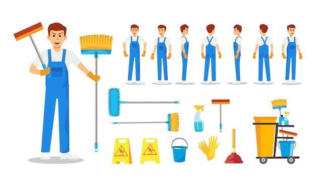Zestaw czyszczenia człowieka personelu postać projektu. prezentacja w różnych akcjach z emocjami, bieganiem, staniem i chodzeniem.