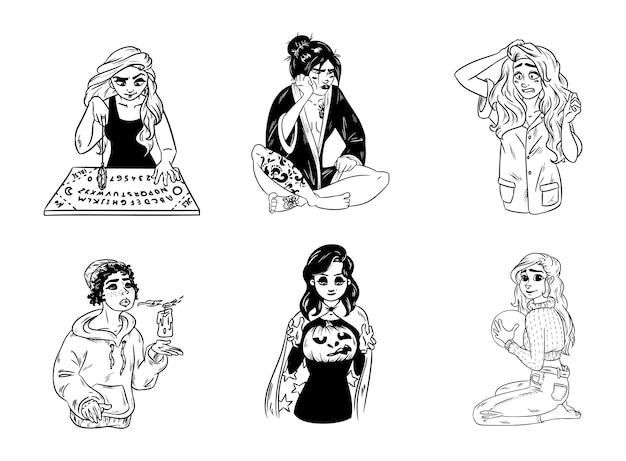 Zestaw dam czarownic wyciągnąć rękę. kolekcja czarno-białych obrazów zarysu młodych magicznych kobiet. tablica ouija i wróżbiarstwo wahadłowe, dynia rzeźbiona na halloween lub samhain.