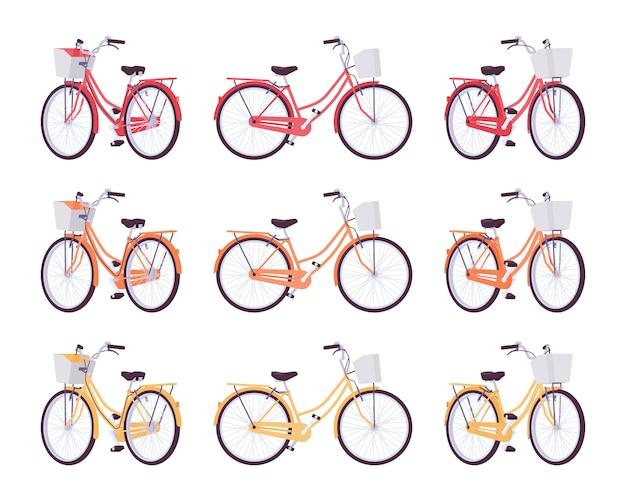 Zestaw damskich rowerów z koszem w kolorach czerwonym, pomarańczowym, żółtym