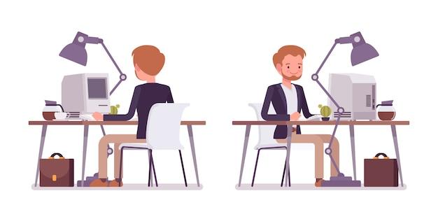 Zestaw dandysa siedzącego przy biurku, widok z tyłu, z przodu